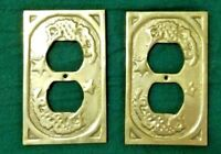 2 Vintage Decorative Gold Brass Electrical Cover Plate Ornate Design Antique