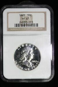 1963 FRANKLIN SILVER HALF DOLLAR COIN PROOF NGC PF 67 #55-013