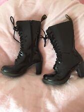 Dr Martens Black Patent Heeled Boots 6