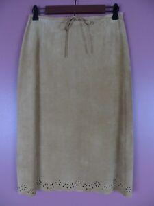 LTR0639-ANN TAYLOR Womens Suede Leather Pencil Skirt Rich Caramel Tan Sz 12 MINT