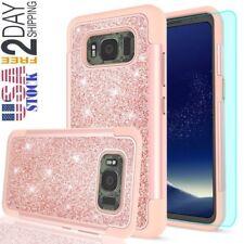 Samsung Galaxy S8 Active Glitter Case Screen Protector Plastic & Faux PC Cover