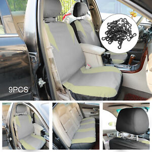 Grey Black Car Seat Covers Full Set Universal 9Pc Protector Washable Front Rear