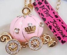 Betsey Johnson Necklace Carriage Pink Cinderella Princess Pumpkin Crystal