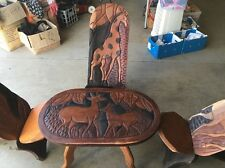 HAND CRAFTED TABLE AND 4 CHAIRS 42 YEARS OLD SOUTH AFRICA Antique Gift Pst $4500