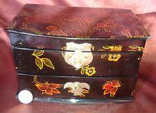ANTIGUO JOYERO CHINO LACADO NEGRO MADRE PERLA NACAR CHINESE JEWELRY BOX
