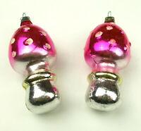2 Antiker Russen Alter Christbaumschmuck  Glas Weihnachtsschmuck Pilze Ornaments
