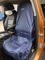PAIR FRONT SEAT COVERS HIGH BACK SLIP ON WIPE CLEAN FOR CAR-VAN GREY