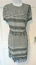 WOMEN'S DESIGNER DRESS HOUSE OF HOLLAND BLACK WHITE GREY AFGHAN CHECK PRINT UK14