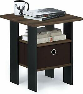 Furinno Furinno Living Room End Side Table with Drawer - Walnut