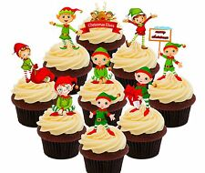 Christmas Elves - 36 Wafer Cupcake Toppers, Fairy Cake Bun Decorations Elf Shelf
