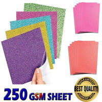 30 Sheets A4 Glitter Card Premium Quality 250gsm Various Arts Crafts Paper UK