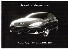 Peugeot 407 Saloon & SW 2004 UK Market Preview Sales Brochure