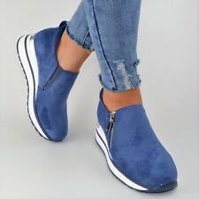 Damen Schuhe Sneaker Blau Plateau Glitzer Sportschuhe Freizeitschuhe Keilabsatz