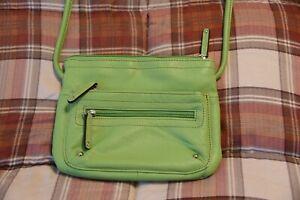 Tignanello Lime Green Leather Crossbody Purse