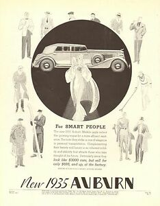 Auburn, Super Charged, 150 hp, For Smart People, Vintage 1935 Antique Car Ad