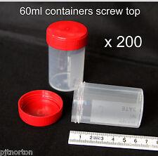 200 X 60 Ml De Plástico Tapa A Rosca Contenedor modelo de almacenamiento muestra Craft pot Bead