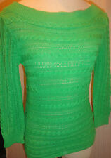 Ladies Chaps Green 3/4 Sleeve Top Shirt Petite Size Small PS