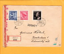Nazi Germany Bohemia Registered Heydrich Plate Flaw Censor Olmutz Jugoslavia z53
