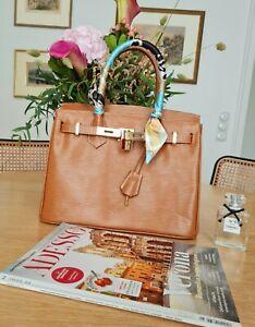 Handtasche Leder Klassiker Bag Cognac Braun Kelly Styl 1A Zustand Unbenutzt