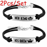 2pc Fashion Bracelet Her King His Queen Carve Stainless Steel Charm Couple Lover