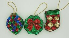 Set of 3 NEW Sequined Satin Ornament Gift Boxes Holiday Christmas
