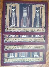 4 Cat Pimpernel Placemats Not a Creature was Stirring cork back mats