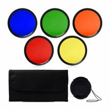 52mm Filter Blue Yellow Orange Red Green + lens cover + Handbag L3Y6