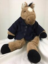 Build A Bear Brown Horse Plush 18 Inch with Blue Blazer Black Hooves Tail 18Inch