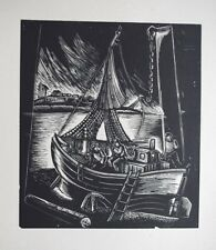 BOAT IN DRY DOCK : RARE WOODBLOCK PRINT By A JUNKERS, LATVIA 1942 : LIMITED EDN.