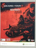"Gears of War 2 Microsoft XBOX Promo Launch Poster 22"" x 28"" 2008 Card Stock HTF"