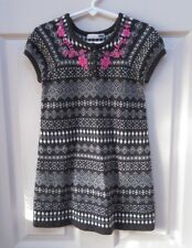 H&M 4T girls short sleeve sweater dress black and white knit