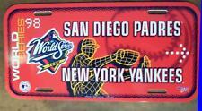 "1998 New York Yankees vs. San Diego Padres World Series License Plate 12"" x 6"""