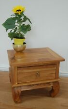 One Drawer Small teak bedside Cabinet With Opium Legs 40cm x 45cm x 37