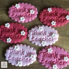 6 Thank You Teacher Gifts Edible Plaques Sugar Cake Cupcake Toppers Decorations