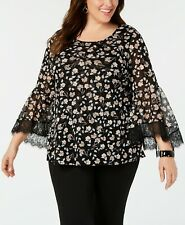 Alfani Women's 1x Plus Size Blouse Lace Bell Sleeve Top, Floral, Black, $76 NwT
