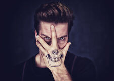 Waterproof Temporary Fake Tattoo Stickers Cool Grey Skull Face Joker Horror