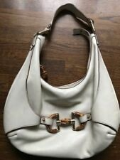 968a6a65b0595a Gucci Off White Leather Large Hobo Bag w/ Signature Gucci Hardware