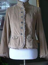 J.Jill Tan Wide Wale Velvet Corduroy Peplum Jacket Coat Velvet Ruffle SP MINT