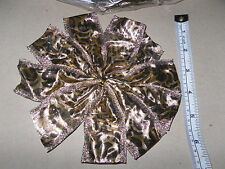 """XMAS CRAFT 8 WIDE GOLD BOW'S 10 POINT POSABLE WIRE EDGE GOLD METALIC 6"""".5 (16cm)"""