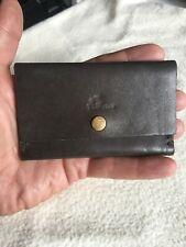 Vintage HandMade Gentleman's Small Dark Brown Leather Cardholder Id Wallet.