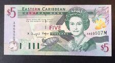 Billete Del Caribe Oriental. 5 dólares. Uncirculated. reinas Retrato