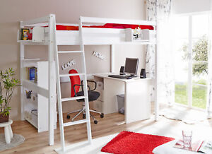 Hochbett Kinderbett Tanja 140 mit Schrägleiter Buche massiv Weiss