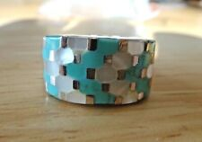 size 9 Sterling Silver 8g Turquoise & White MO Pearl inlaid 12mm wide Band Ring