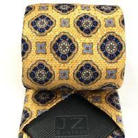 JZ Richards Boulder All Silk Necktie Yellow Purple Victorian Foulard Elegant Tie