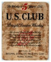 U.S. Club Straight Bourbon Whiskey Bottle Label