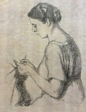 HERMANN STRUCK (1876-1944), Lithography, Knitting Woman Portrait, Signed