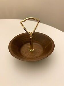 Vintage mid century Missouri Walnut serving dish with gold metal handle