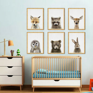 Lovely Animals Pictures Print Art Poster Baby Kids Room Wall Decor Ornament