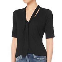 FRAME black short sleeve tie neck detail tee top M