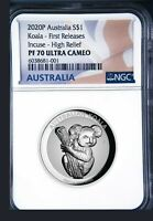 2020 Australia FIRST INCUSED HIGH RELIEF 1oz Silver Koala $1 Coin NGC PF70 FR FL